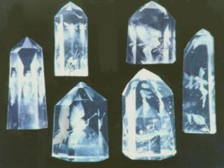 These crystal carvings are *reverse intaglio*